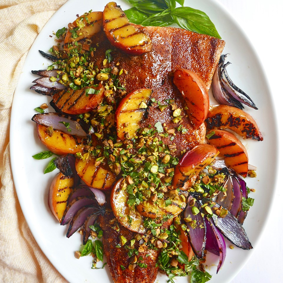 Grilled Salmon and Peaches with Basil-Pistachio Gremolata Recipe