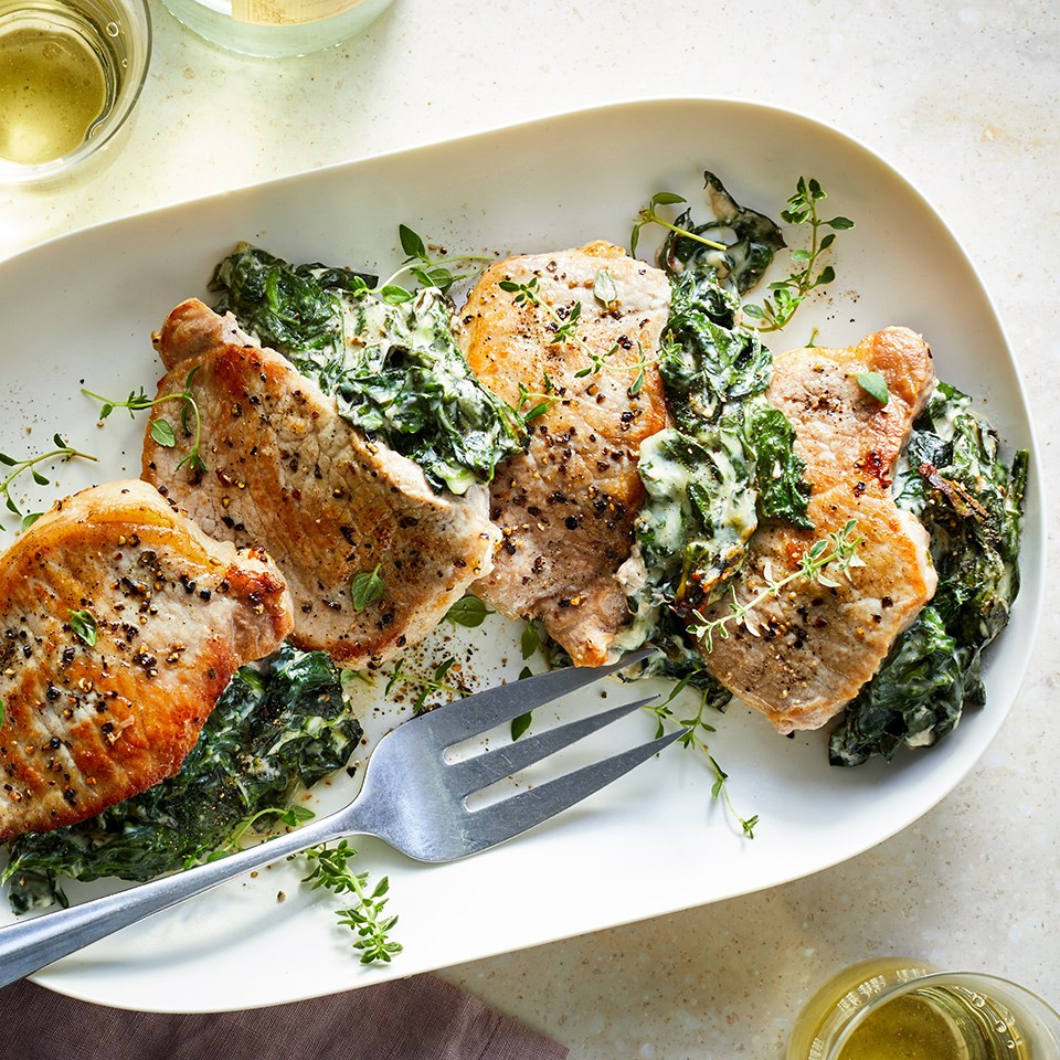 Cheesy Kale & Spinach Stuffed Pork Chops