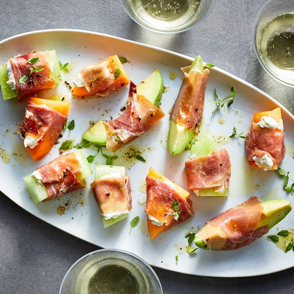 Prosciutto-Wrapped Avocado & Melon Bites