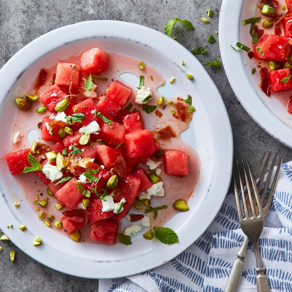 Watermelon Salad with Crispy Prosciutto, Feta & Mint