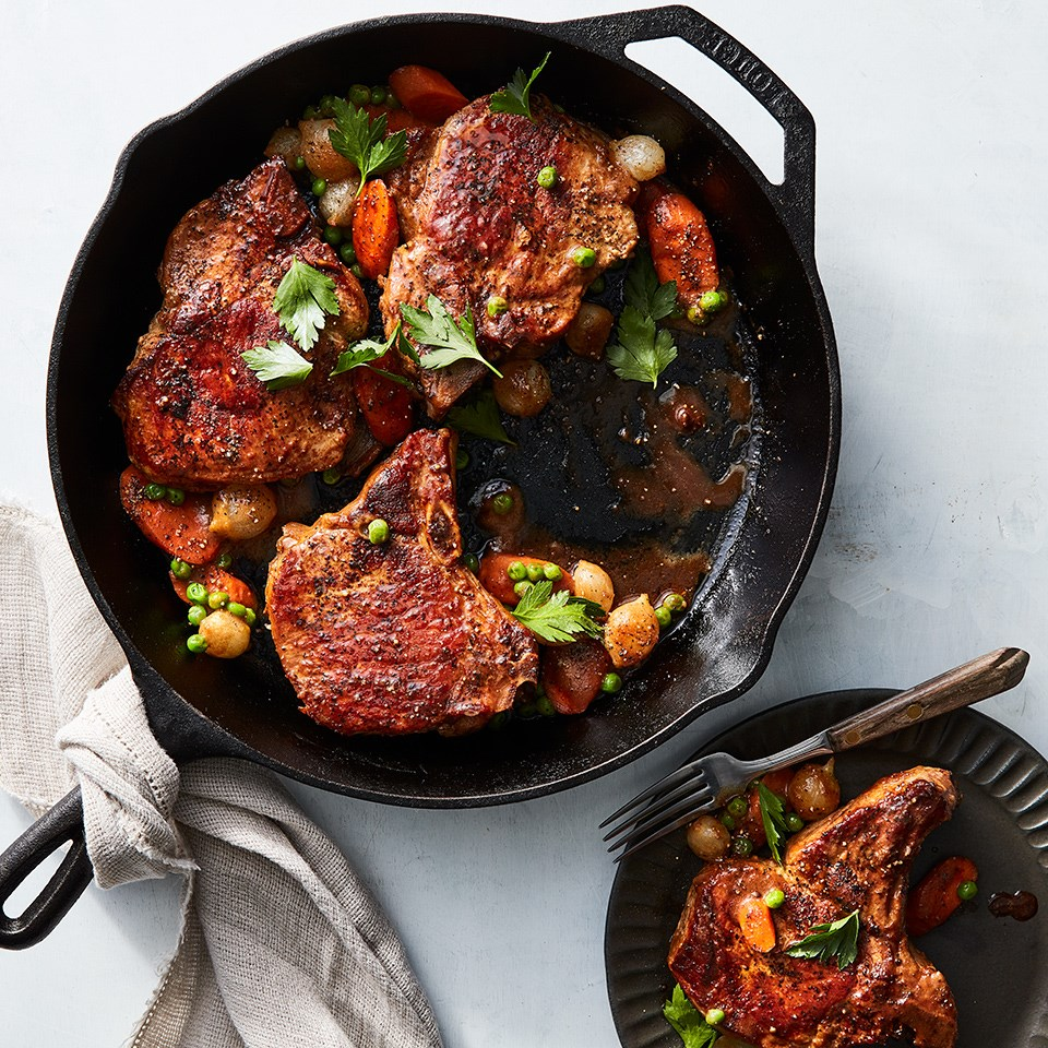 Skillet Pork Chops with Peas, Carrots & Pearl Onions