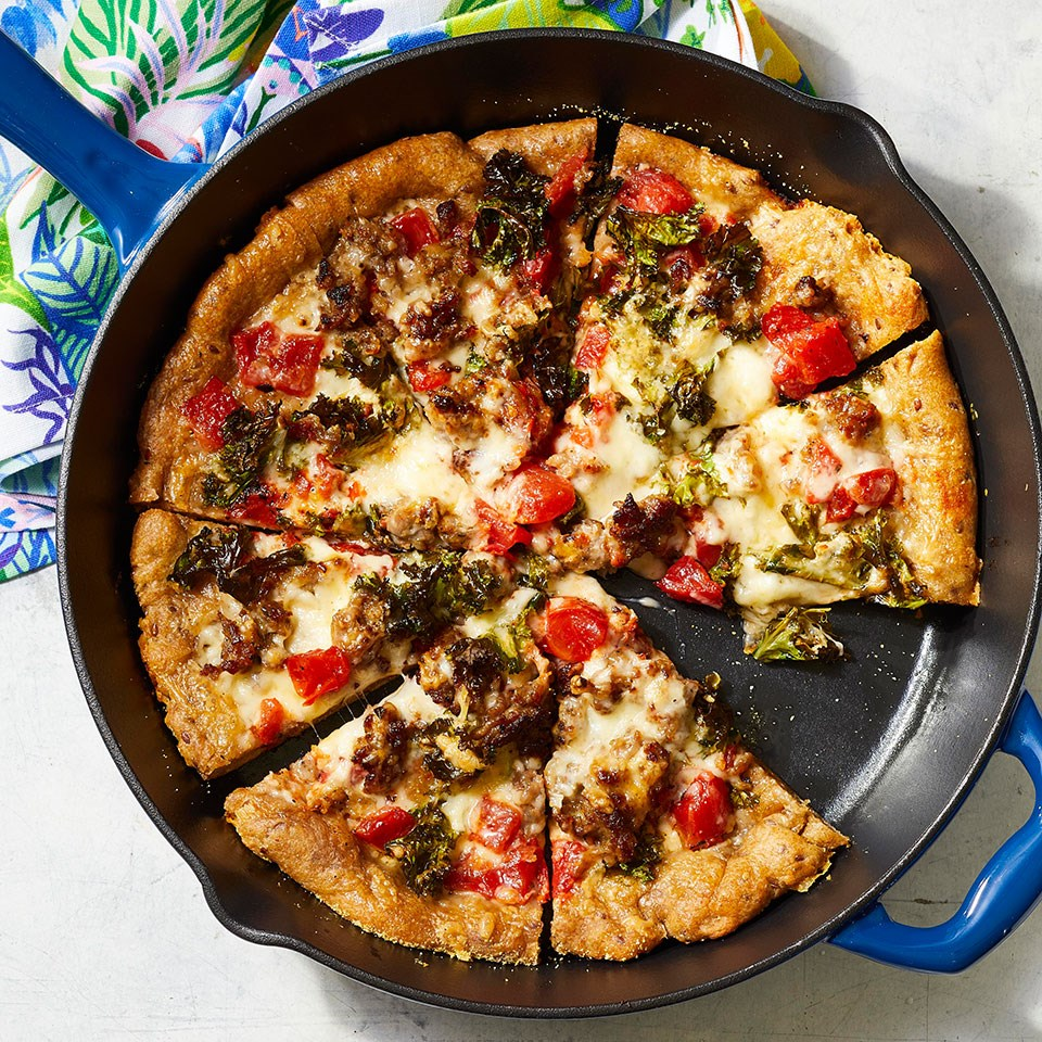 Cast-Iron Skillet Pizza with Sausage & Kale