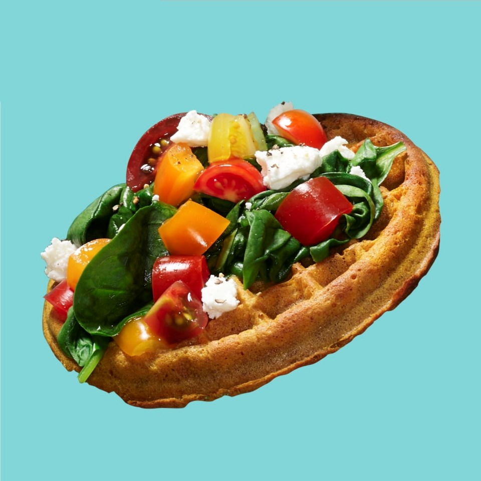 Waffle with Spinach, Tomato & Feta