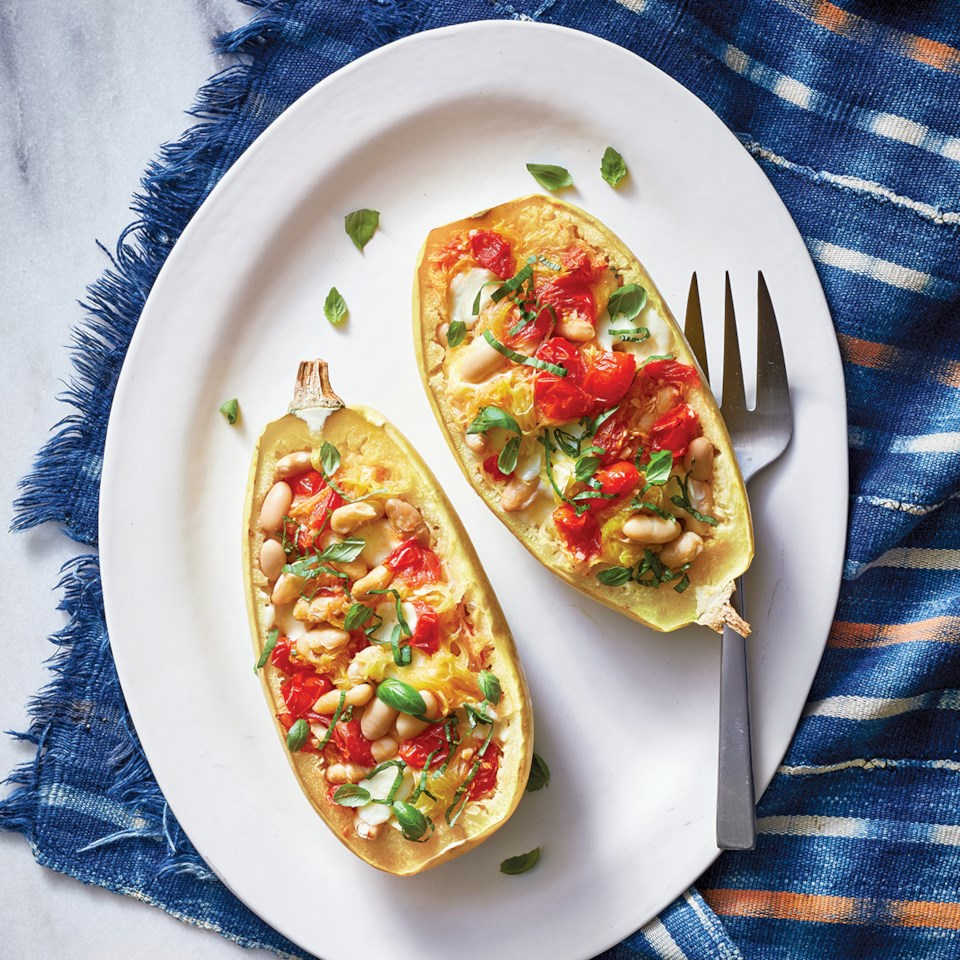 Slow-Cooker Caprese Spaghetti Squash with White Beans
