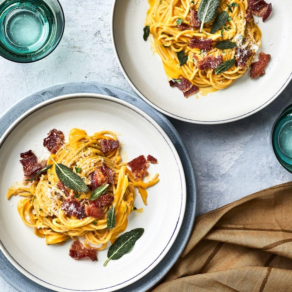 Whole-Wheat Spaghetti Carbonara with Butternut Squash