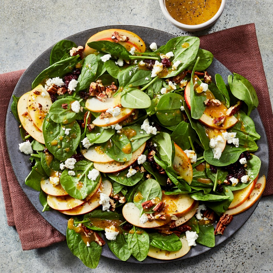 Apple-Cranberry Spinach Salad with Goat Cheese
