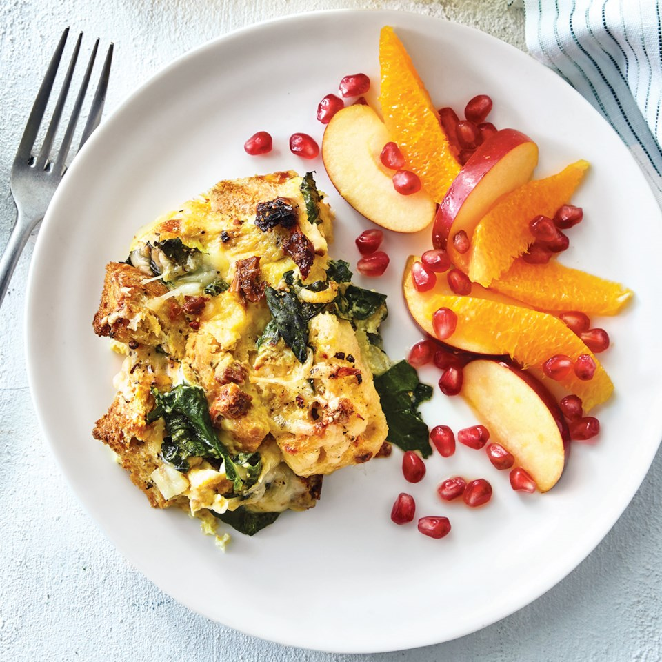 Slow-Cooker Kale & Gruyère Strata with Sun-Dried Tomatoes