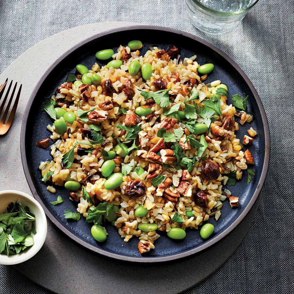 Slow-Cooker Edamame-Rice Bowl with Cherries & Pecans Recipe
