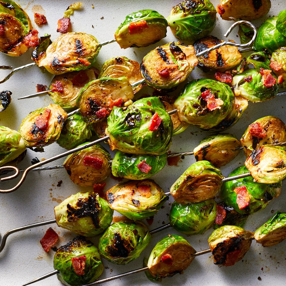 Grilled Brussels Sprouts with Bacon & Honey-Balsamic Glaze Recipe