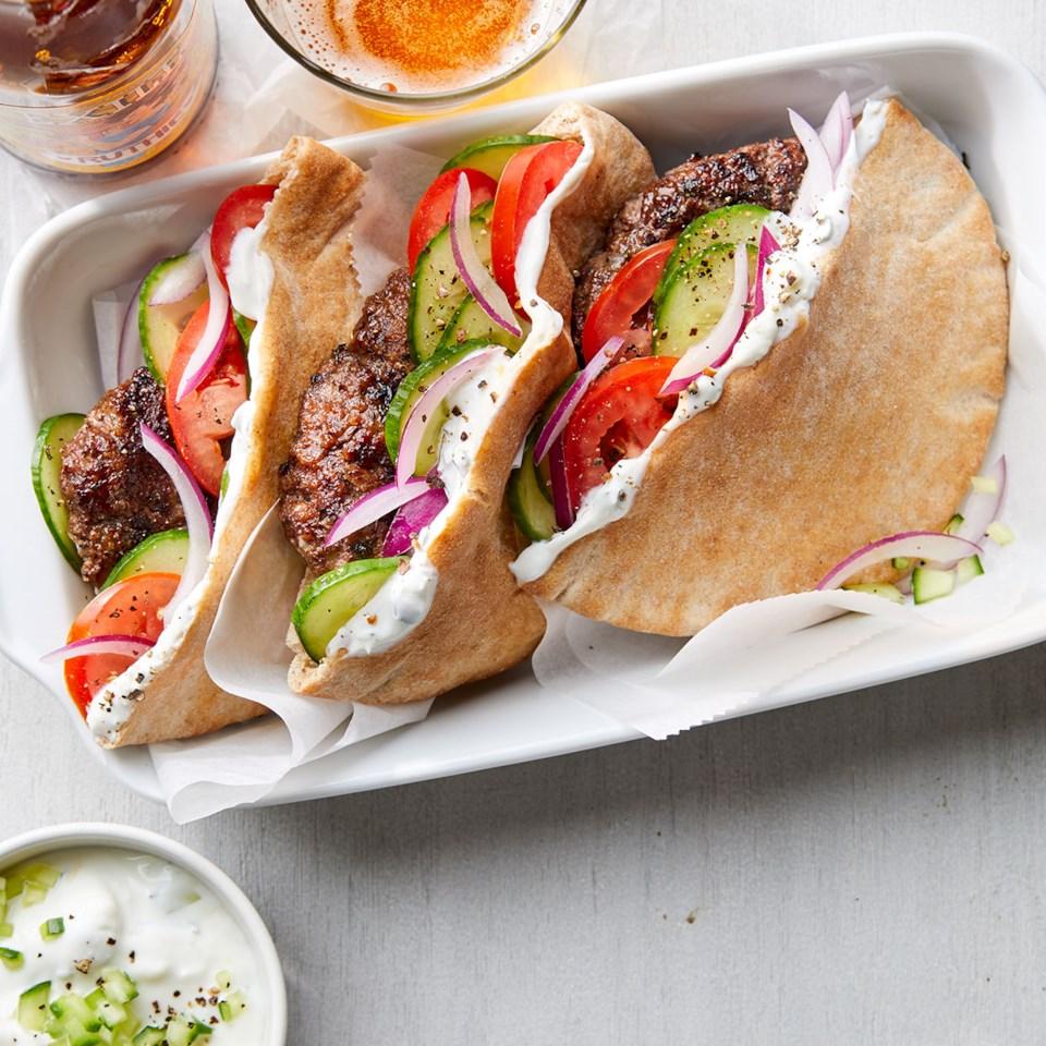 Greek Burgers with Herb-Feta Sauce