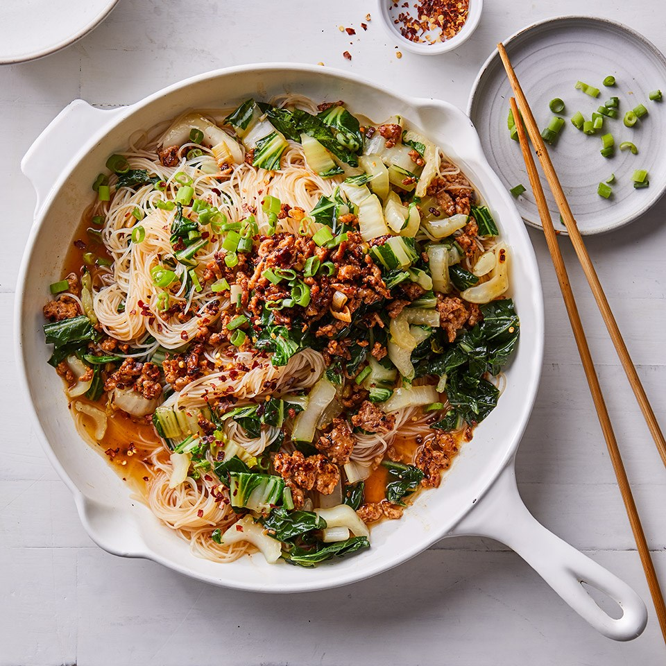 Spicy Noodles with Pork, Scallions & Bok Choy Recipe