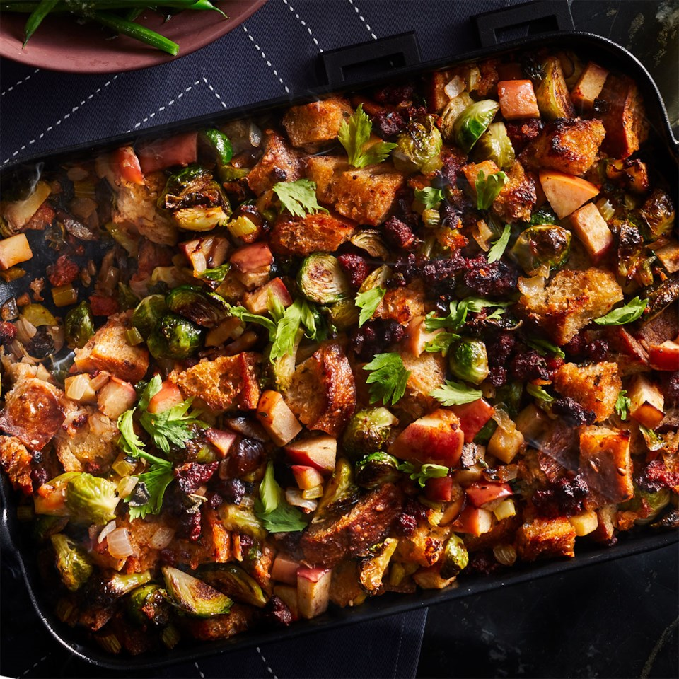 Chorizo, Chestnut, Brussels Sprout & Apple Stuffing Recipe