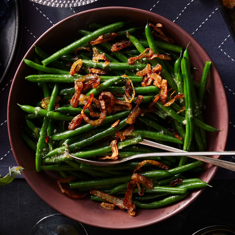Steamed Green Beans with Rosemary-Garlic Vinaigrette & Fried Shallots
