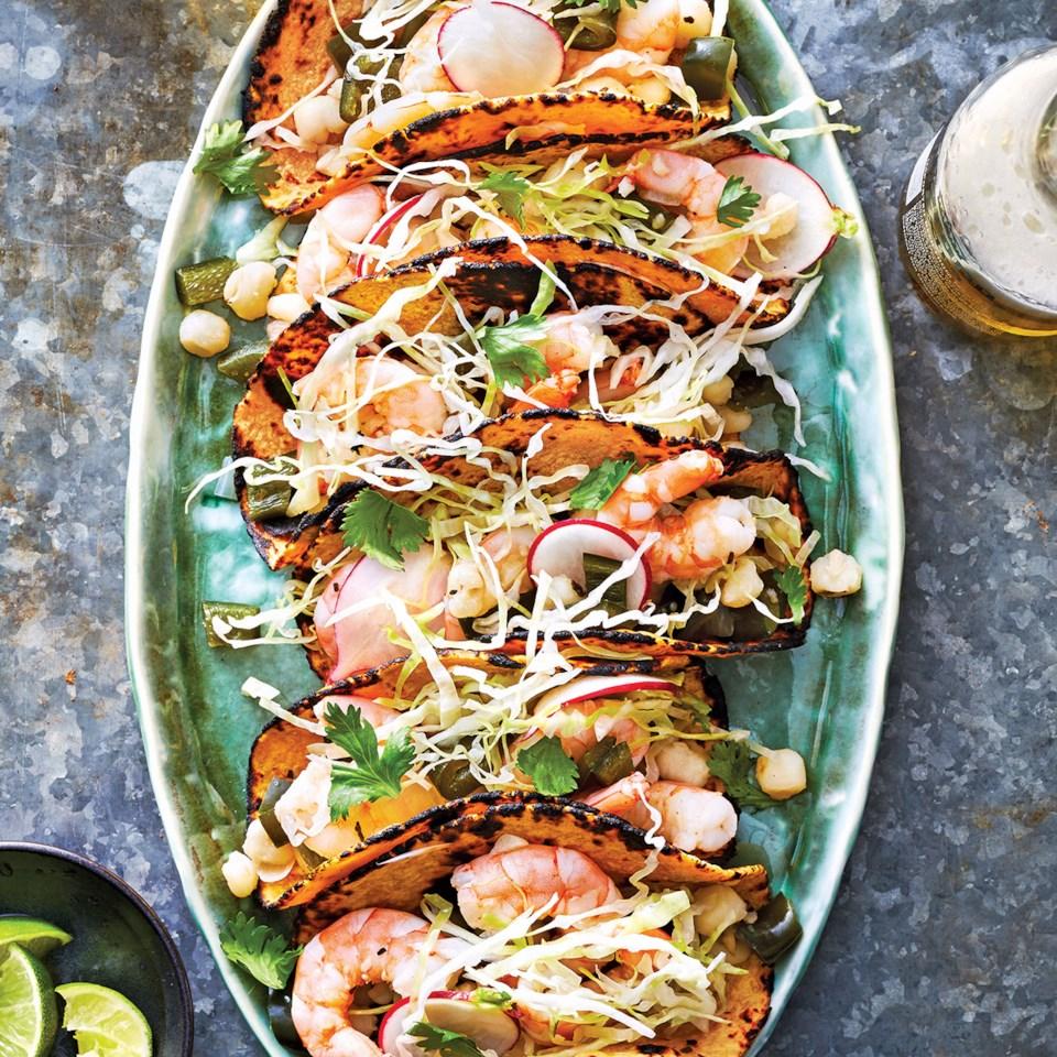 Slow-Cooker Shrimp Posole Tacos Recipe