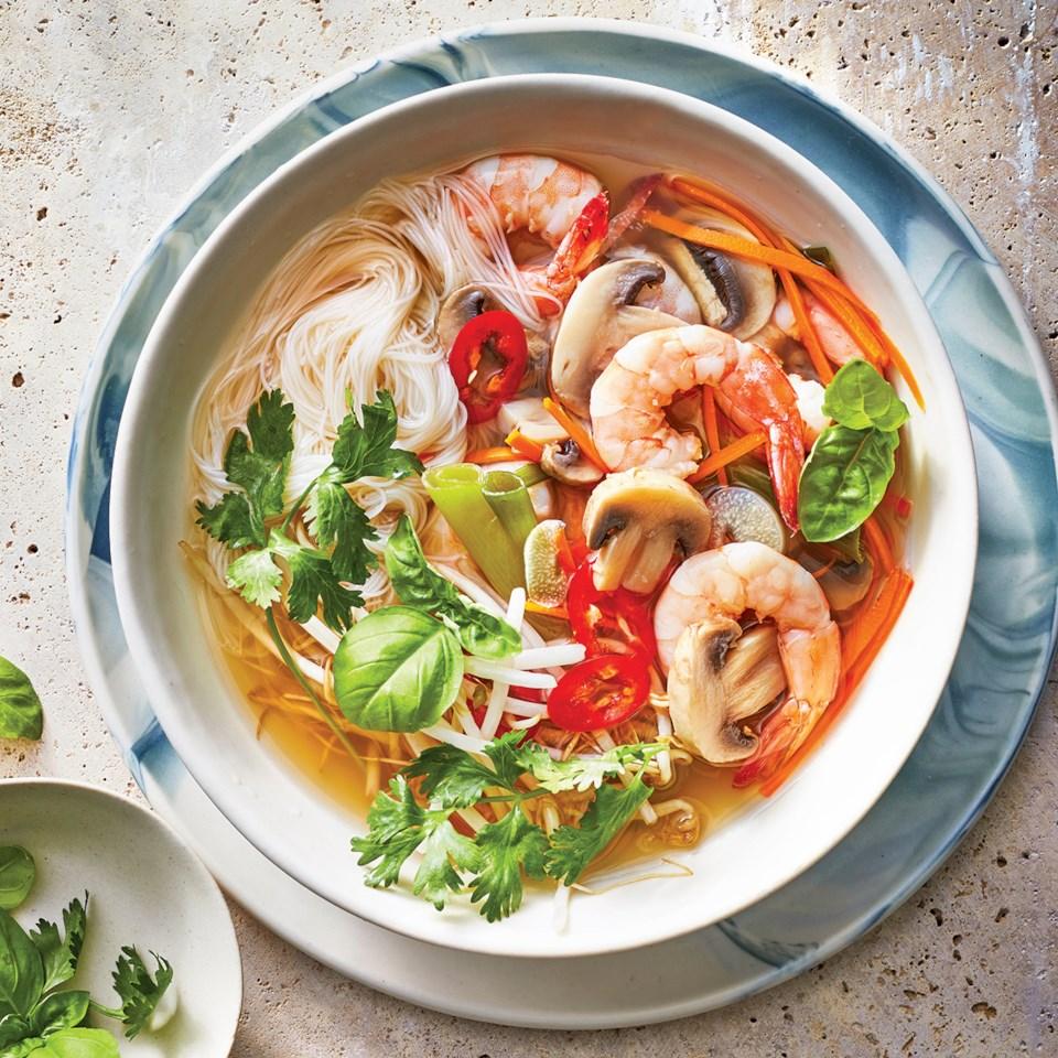 Slow-Cooker Shrimp Noodle Bowls