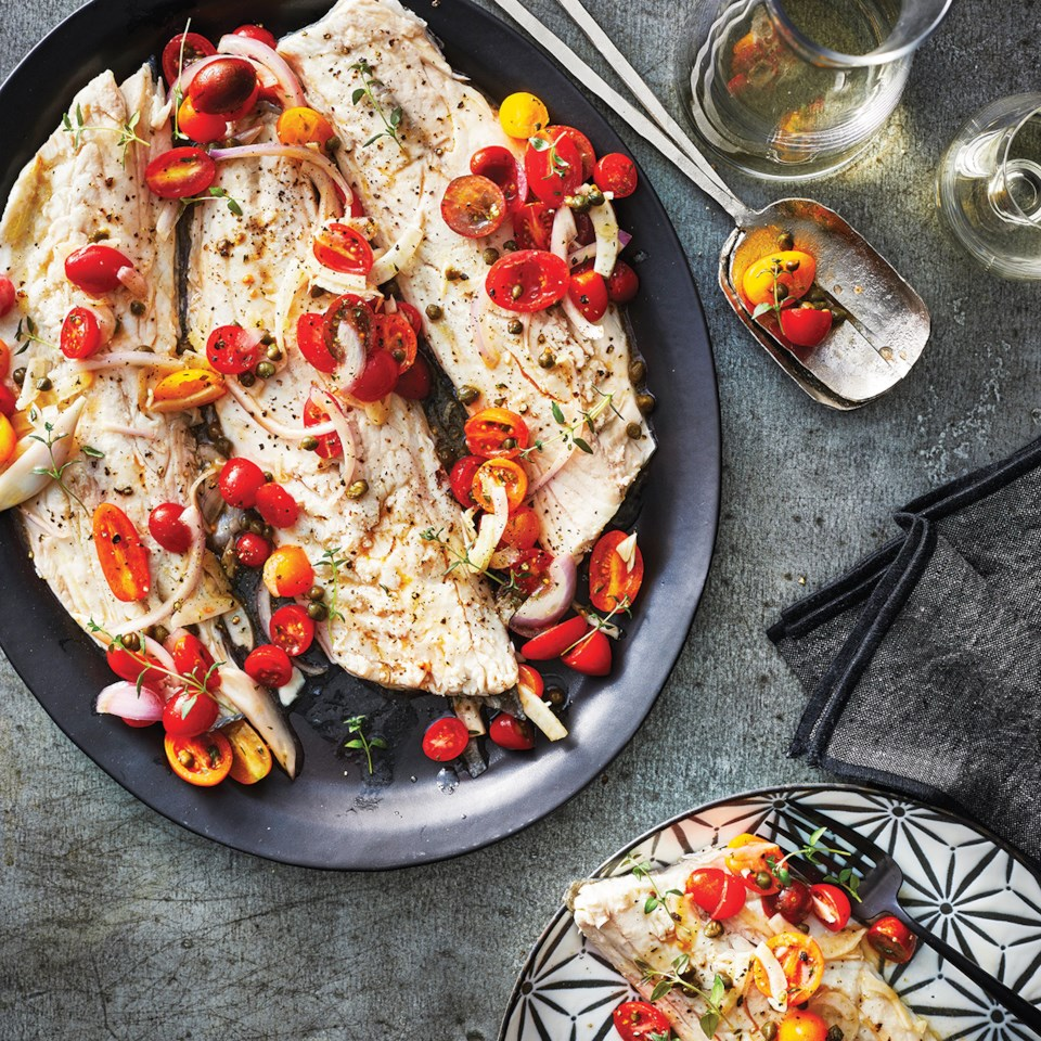 Slow-Cooker Sea Bass with Tomato-Fennel Relish Recipe
