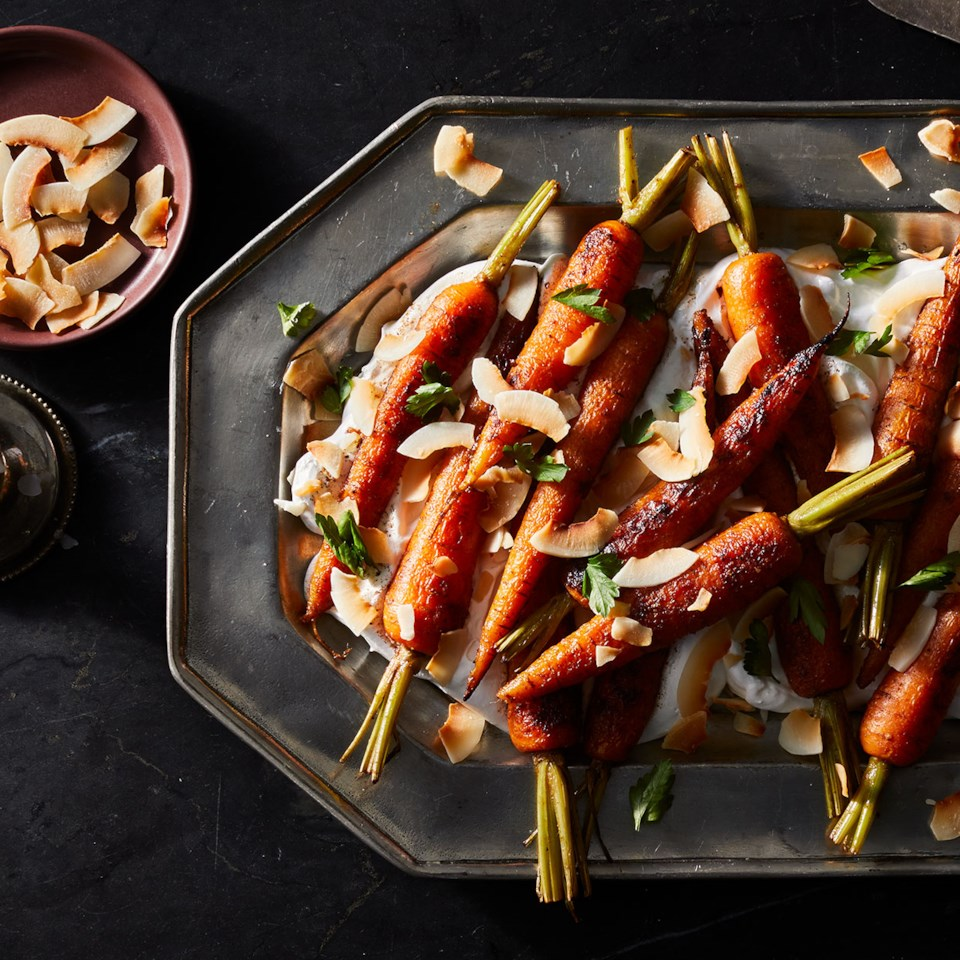 Roasted Carrots with Homemade Marshmallow Fluff & Toasted Coconut