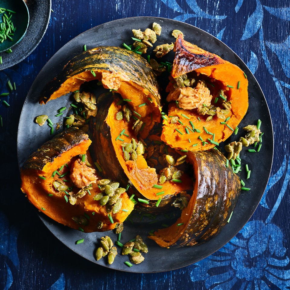 Roasted Kabocha Squash with Umami Butter & Candied Pepitas Recipe