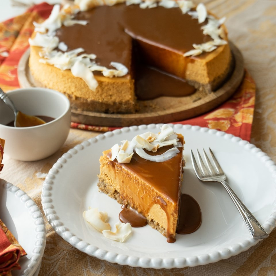 Pumpkin-Coconut Cheesecake with Dulce de Leche Glaze