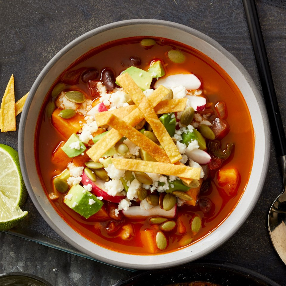 Sweet Potato Soup with Crispy Tortilla Topping