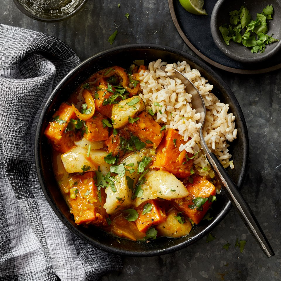 Coconut-Curry Cod Stew with Sweet Potato & Rice