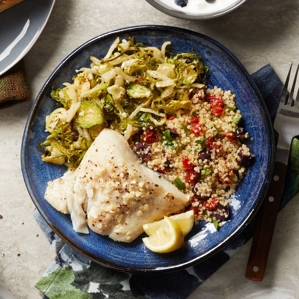 Baked Halibut with Brussels Sprouts & Quinoa
