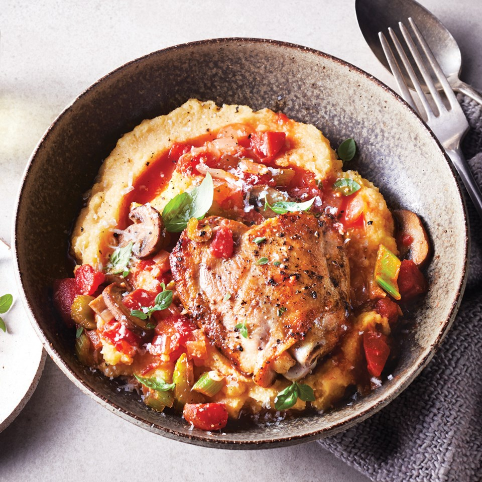 Slow-Cooker Chicken & Tomato Ragout over Polenta