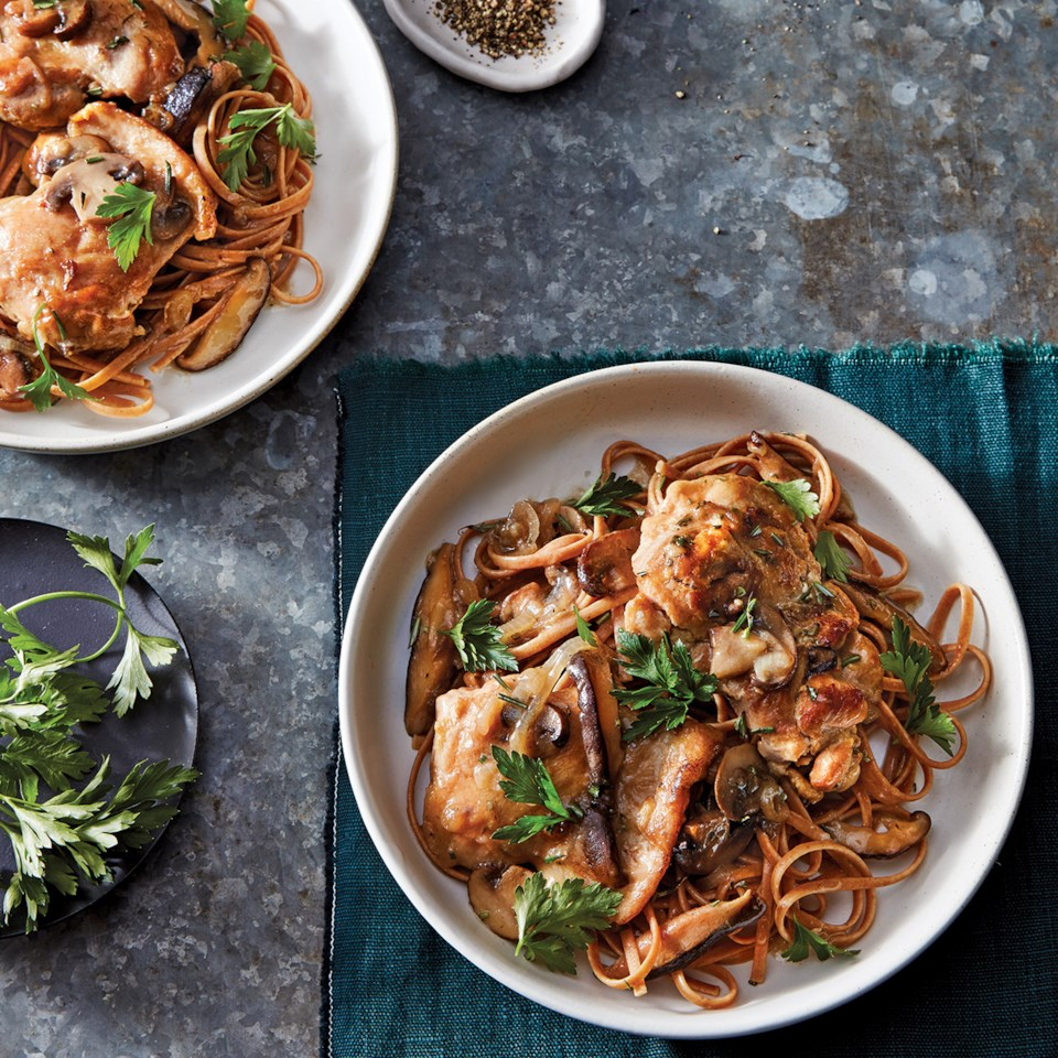 Slow-Cooker Chicken with Rosemary & Mushrooms over Linguine Recipe
