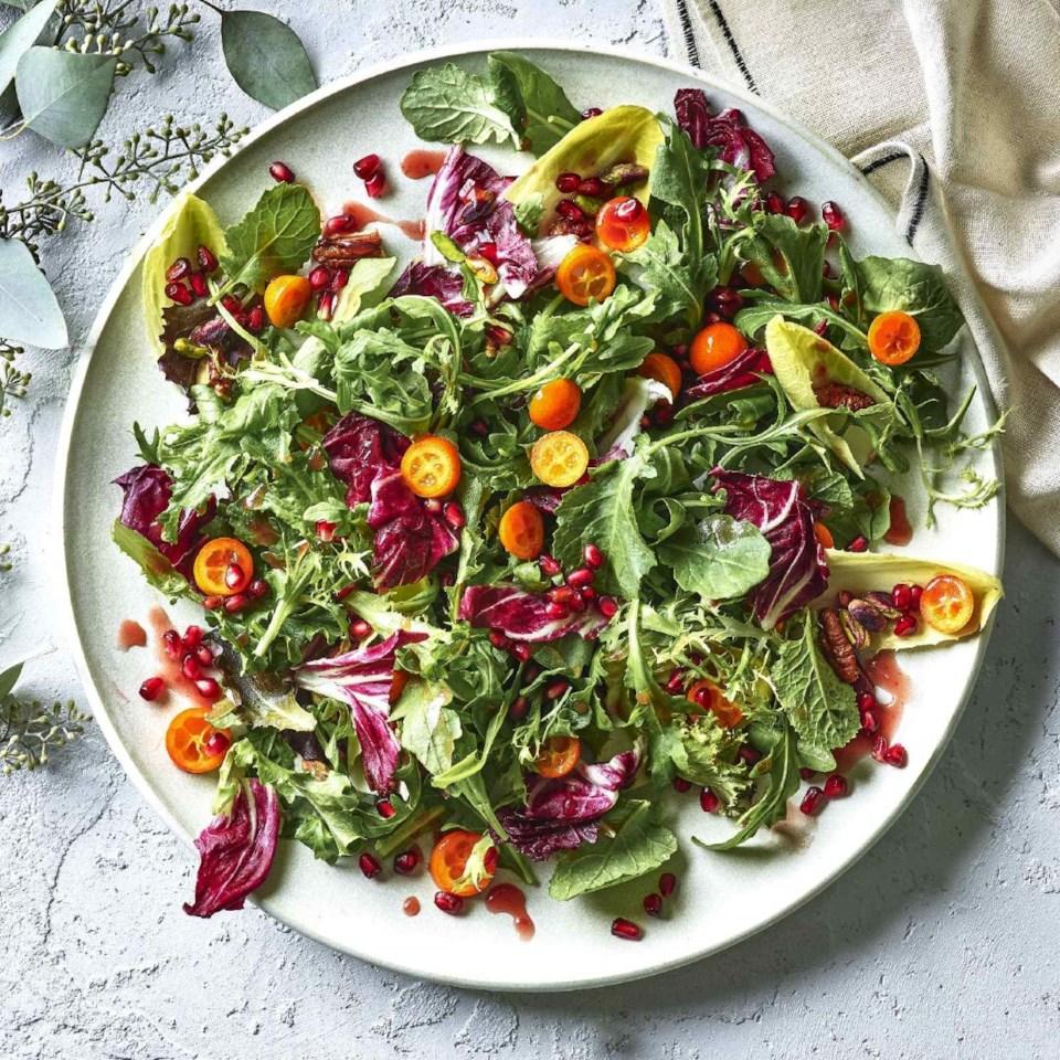 Winter Greens Salad with Pomegranate & Kumquats