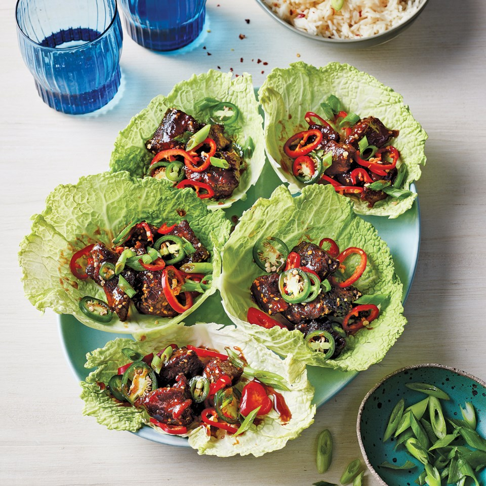 Slow-Cooker Korean Beef in Cabbage Leaves Recipe