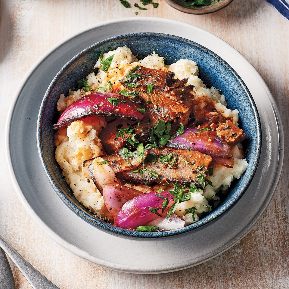 Slow-Cooker Brisket & Onions over Buttery Mashed Potatoes Recipe