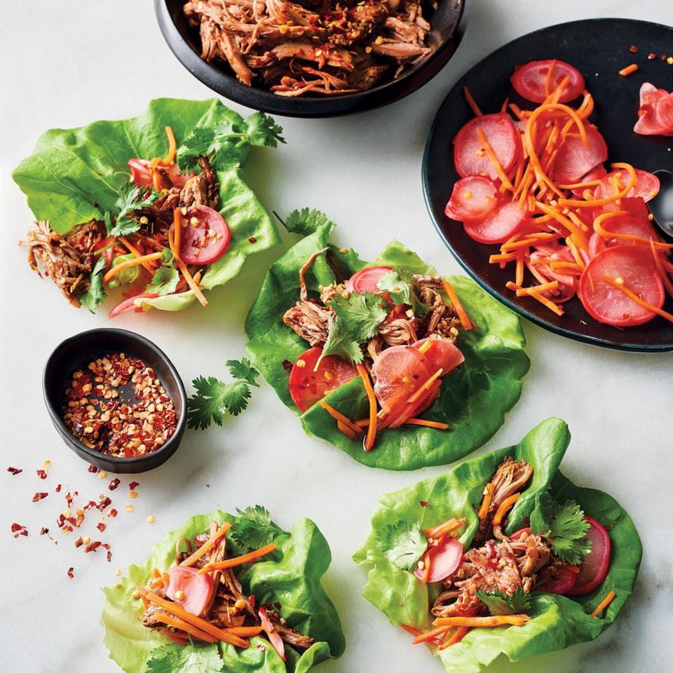 Slow-Cooker Soy-Glazed Pork in Lettuce Cups Recipe