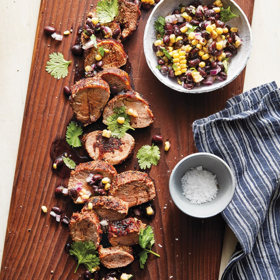 Slow-Cooker Chile-Rubbed Pork with Corn & Black Beans Recipe