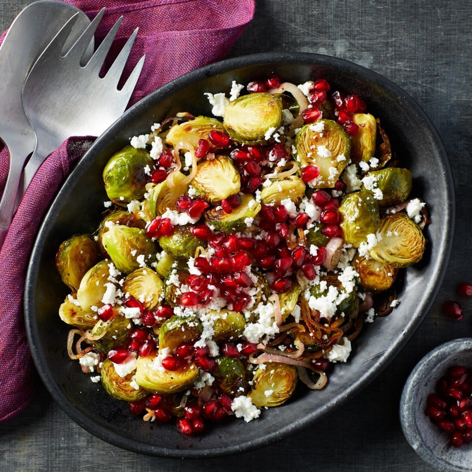 Roasted Brussels Sprouts with Goat Cheese & Pomegranate Recipe