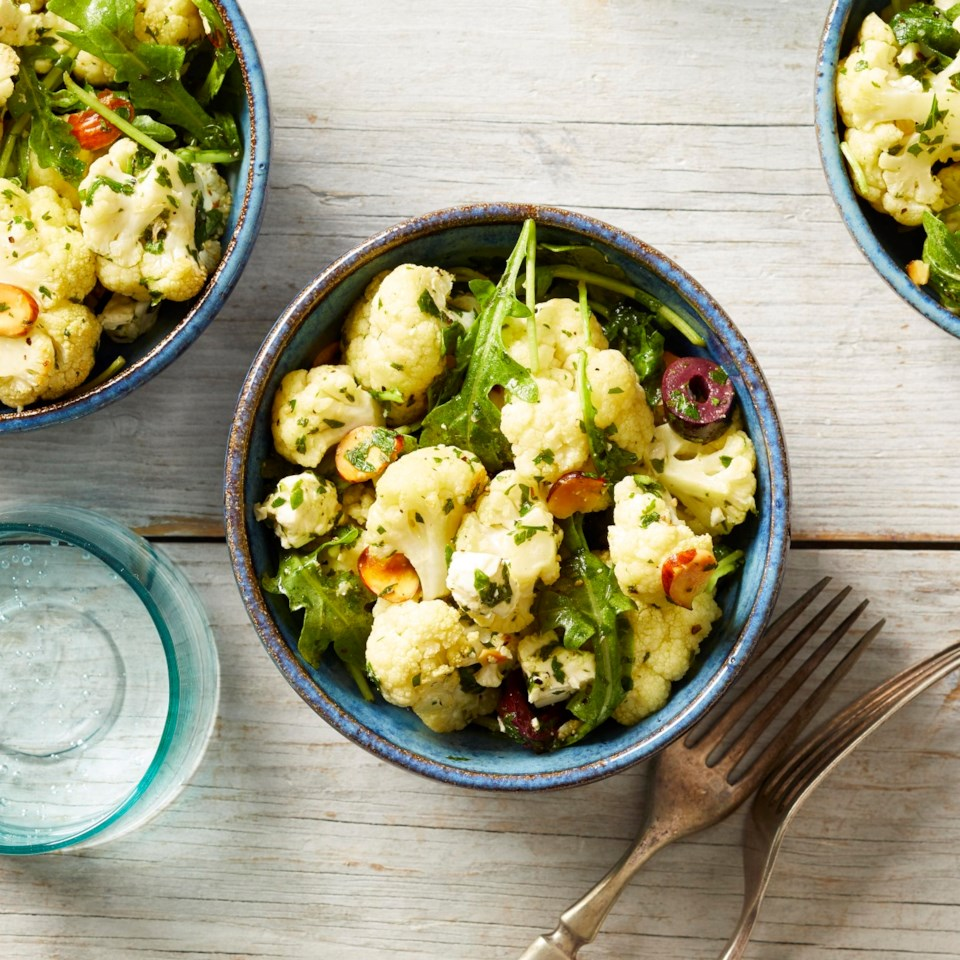 Roasted Cauliflower Salad with Almonds, Olives & Feta Recipe