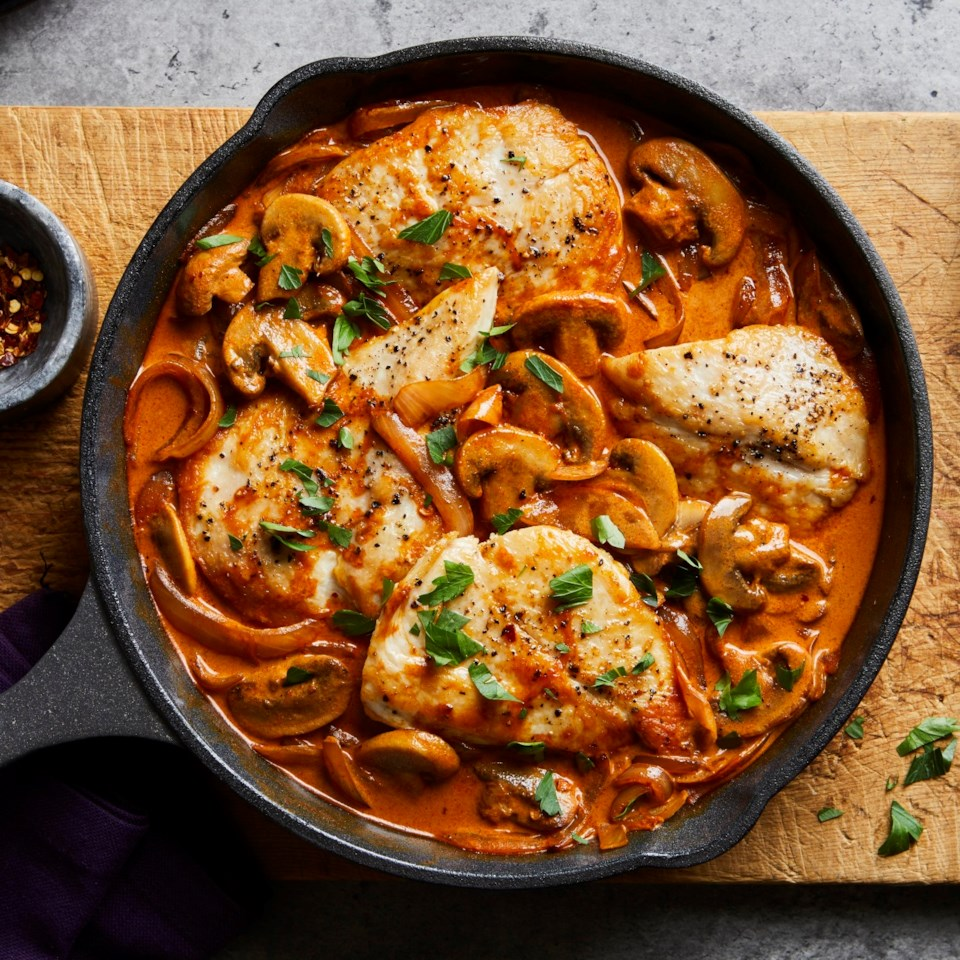 One-Skillet Chicken Paprikash with Mushrooms & Onions Recipe