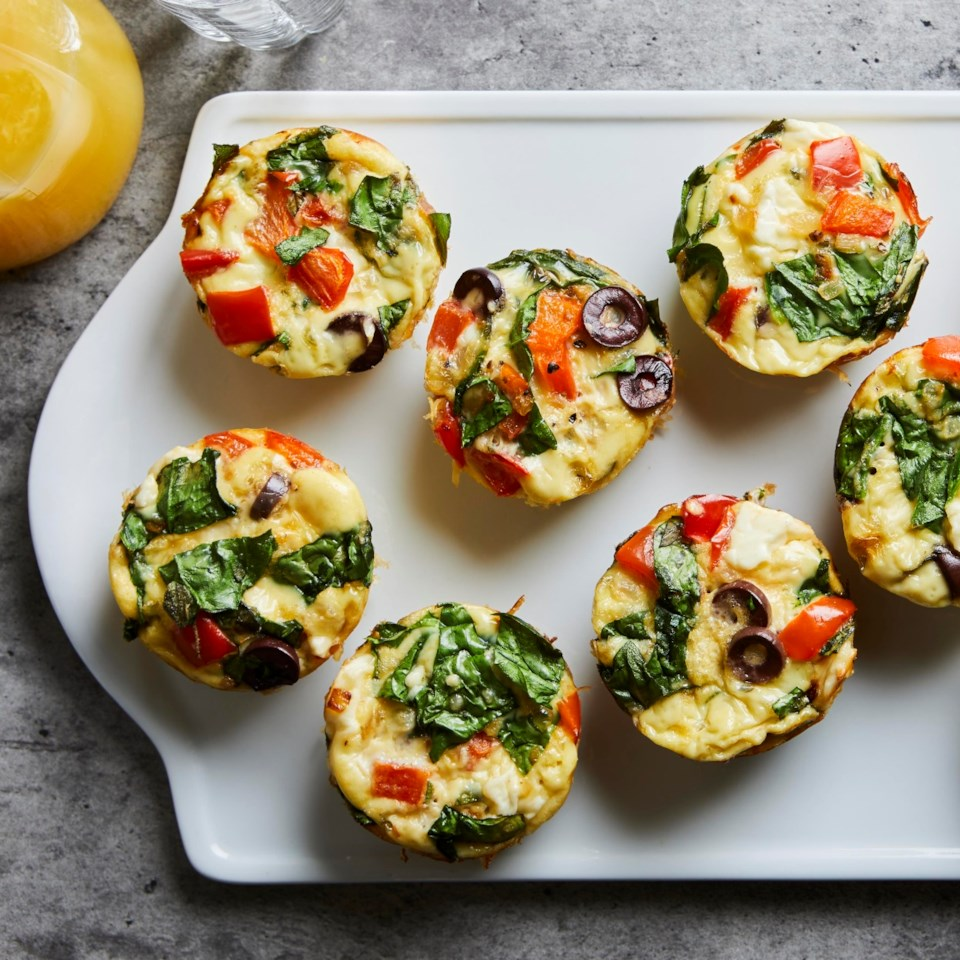 Greek Muffin-Tin Omelets with Feta & Peppers Recipe