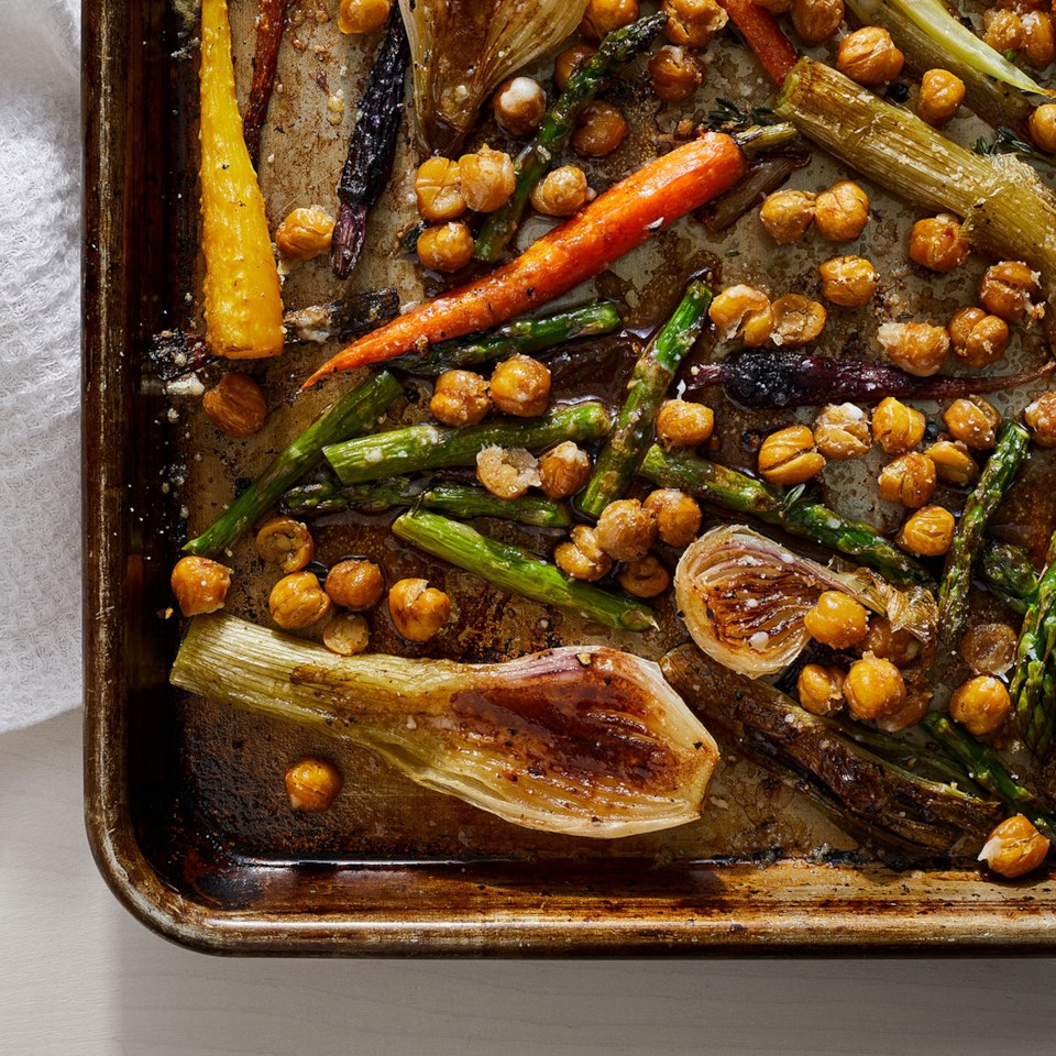 Sheet-Pan Balsamic-Parmesan Roasted Chickpeas & Vegetables Recipe