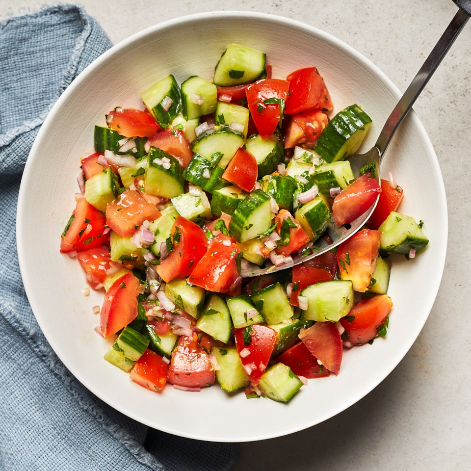 Chopped Cucumber & Tomato Salad with Lemon Recipe