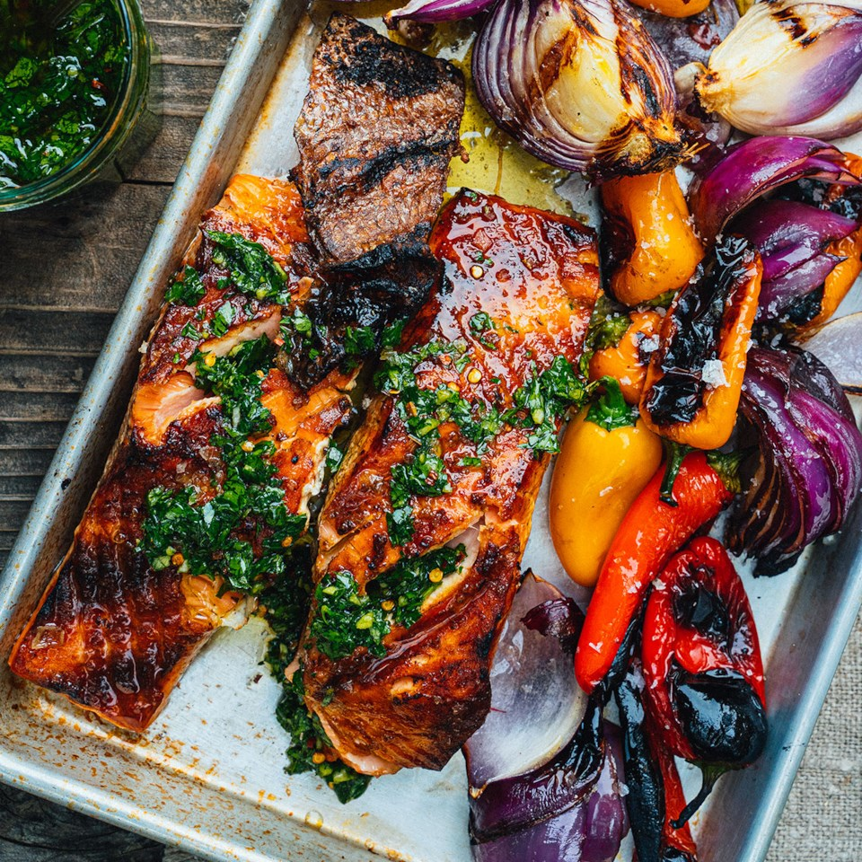 Grilled Salmon with Sweet Peppers Recipe