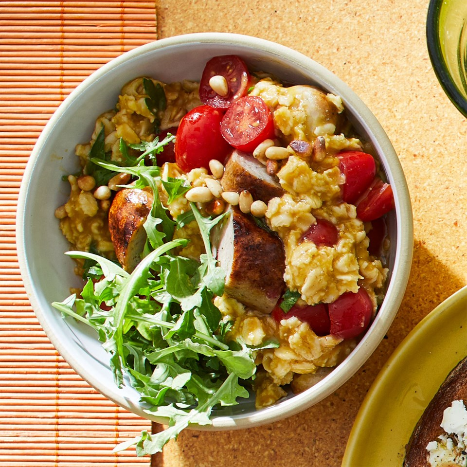 Savory Oatmeal with Tomato & Sausage Recipe
