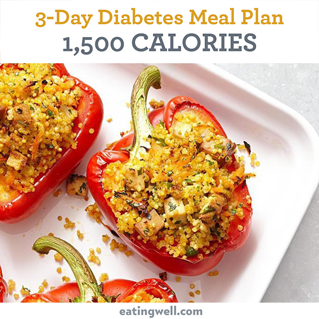 3 Day Diabetes Meal Plan 1500 Calories Eatingwell