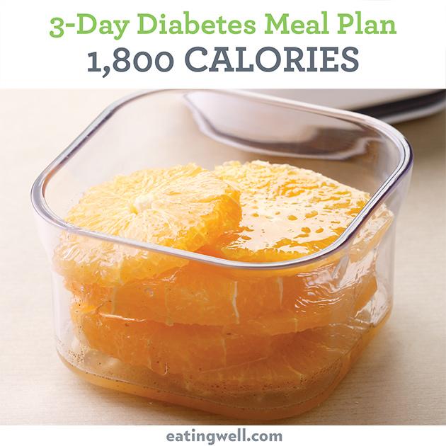 3-Day Diabetes Meal Plan: 1,800 Calories