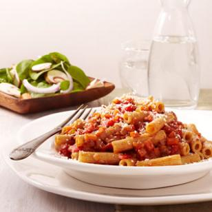 Budget-friendly and healthy quick pasta bolognese