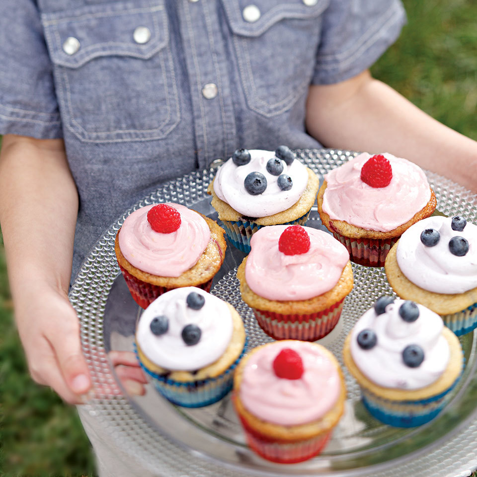 A platter of beautiful healthy cupcakes