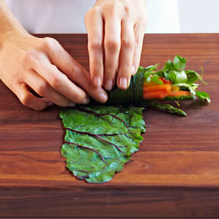 Roll and Tuck the Chard Leaf Around the Ingredients