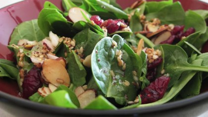 jamies cranberry spinach salad