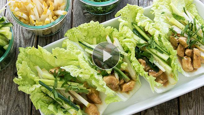 Peanut-Chicken Cabbage Wraps