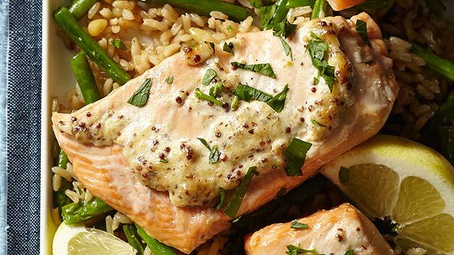 Dijon Salmon with Green Bean Pilaf