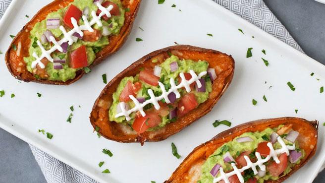 Sweet Potato Skins With Guacamole Healthy Vegetarian Super Bowl Recipes